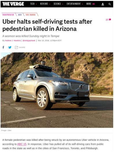 Uber halts self driving tests after pedestrian killed in Arizona